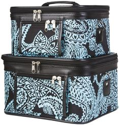World Traveler 2-Piece Paisley Cosmetic Train Case Set, Black and Blue -- See this great image  : Travel essentials