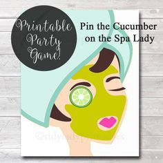 This Pin the Cucumber on the Spa Lady Girls Party Game Spa Party is just one of the custom, handmade pieces you'll find in our toys & games shops. Spa Games, Girl Sleepover, Slumber Party Games, Spa Birthday Parties, Sleepover Activities, Birthday Party Games, Slumber Parties, Carnival Birthday, Party Activities