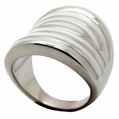Joyas de Acero-Anillos-RA0740W. Anillo acero alargado esmaltado con rayas en en color blancas