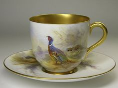 I hope 1 or 2 Pheasants are for Dinner ...  Royal Worcester Pheasant Cup and Saucer by J. Stinton ...