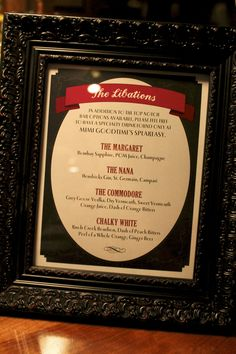 Close up of the speakeasy signature drink menu. I love the vintage feel frame... nice touch!
