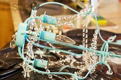 made from an inexpensive brushed nickel chandy purchased from Ikea! Ikea Chandelier, Painted Chandelier, Lantern Chandelier, Crafty Craft, Tiffany Blue, Cool Diy, Design Crafts, Diy Painting, Furniture Makeover