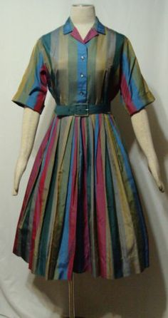 Vintage Dress 50s Shirt Stripes Shimmer Silk Rockabilly Full Sweep w Belt B40   eBay