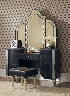 Browse a exclusive collection of vanity set in a various verity of style and size and finishes to complete your bedroom furniture from Warehouse direct USA. Visit and view AICO Michael Amini Hollywood Swank Upholstered Vanity Set in Black Iguana. Vintage Makeup Vanities, Makeup Table Vanity, Diy Vanity, Vintage Vanity, Vanity Tables, Vanity Stool, Vanity Ideas, Vintage Glam, Makeup Dresser