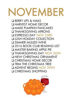 Fall Seasonal Living - November To Do List I'm going to use this for journal prompts too. Life Planner, Happy Planner, Planners, Monthly Celebration, Berry Lips, Life List, Happy Fall Y'all, Months In A Year, 12 Months