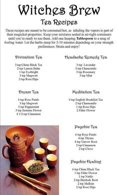 Though I'm more of a coffee person, tea is a useful thing to know about in Wicca. Tea can help soothe aches and pains as well as increase luck and prosperity. Wiccan Spells, Magick, Magic Spells, Wiccan Rituals, Green Witchcraft, Herbal Remedies, Natural Remedies, Holistic Remedies, Kitchen Witchery