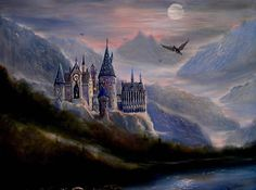 Harry Potter Car, Harry Potter Castle, Harry Potter Fan Art, Castle Backdrop, Harry Potter Painting, Castle Painting, Harry Potter Background, Moonlight Painting, Harry Potter Wallpaper
