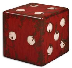 Uttermost Dice Accent Table Red - Fun and functional, this chic accent table makes a fantastic focal point. A burnt red finish with antiqued ivory accents and walnut wood undertones give this distressed piece a retro vintage vibe. Art Furniture, Accent Furniture, Vintage Furniture, Cream Furniture, Furniture Chairs, Furniture Outlet, Furniture Stores, Wooden Furniture, Online Furniture