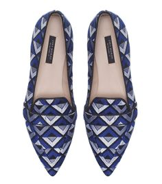 Zara pointed print slippers