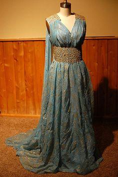 Daenery Targaryen Blue and Gold Dress Gown - Qarth - Game of Thrones Costume Replica