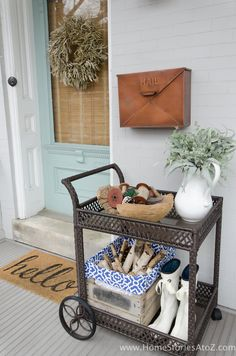 Winter into Spring front porch decorating ideas