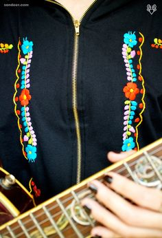 Handmade Mexican embroidery in urban fashion by Jessica Gálvez