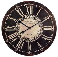 "Large 23.5"" Round Vintage-Style Paris Hotel Black & White Wall Clock"