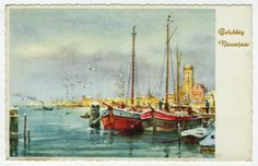 Postcards - Greetings & Congrads #  561 - Happy New Year - Ships in the Harbour