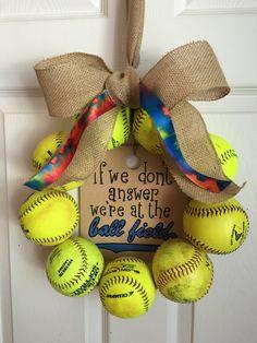 Tie Dye Softball Wreath by DoorsGoneWild on Etsy