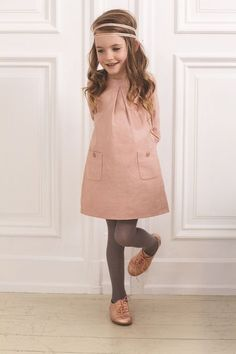Pink metallic Oxfords, pink vintage style dress, gray hosiery, headband. Toddler girl fashion