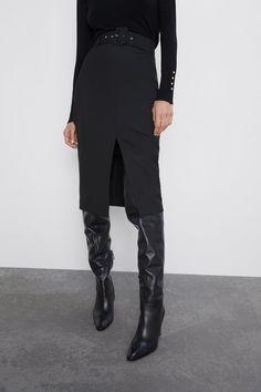 Belted pencil skirt - view all-skirts shorts-woman zara canada Black Pencil Skirt Outfit, Pencil Skirt Dress, Pencil Skirt Casual, Pencil Skirt Outfits, Pencil Skirts, Pencil Dresses, Skirt Midi, Skirt Belt, Zara