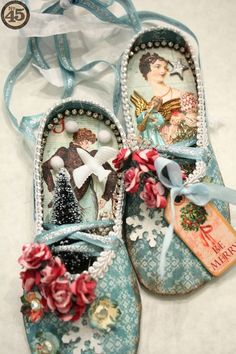 Amazing altered ballet slippers by Denise Hahn using The Twelve Days of Christmas! So gorgeous - and there's also a tutorial! #graphic45