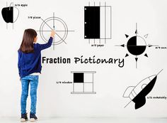 fraction-pictionary: Students play Pictionary with fractions! Divide students into teams. One child draws the fraction on the board. His/her teammates try to guess the image as well as the fraction! If their team guesses correctly they get a point. When drawing, children can divide single objects to represent fractions (shown above) and you could also throw in multiple objects. For example, 2/5 dogs. A student could draw 2 dogs and 3 cats