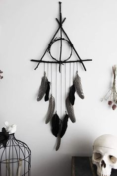 Deathly Hallows . willow twigs triangle dreamcatcher & black