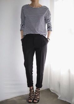 striped top, black cigarette pants and black heels with laces