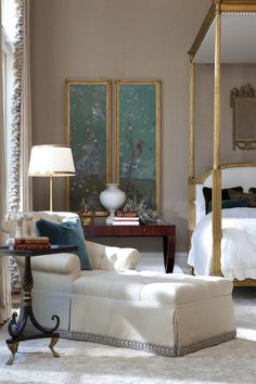 Bedroom by Ebanista from Collection Ten - Josephina Chaise, Savoy Side Table, Louis XVI Bed, Elsie Jardin Panel I  II, Tre Palle Mirror, La Couronne Crown. Available at the DD Building suite 1602 #ddbny #ebanista