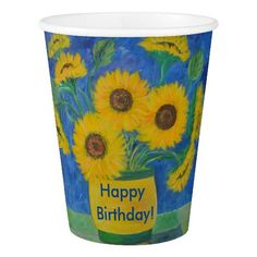 Cheerful Sunflower Happy Birthday Paper Cup