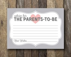 Parents to Be Advice Card Printable Baby by TheLionAndTheLark