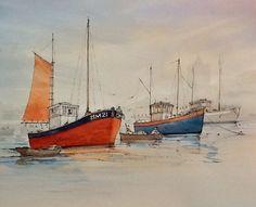 Brixham Trawlers watercolour painting by Edward Girard millmansholidaycottages.co.uk Watercolour Painting, Sailing Ships, Zentangle, Boats, Inspire, Paintings, Adventure, Inspiration, Art
