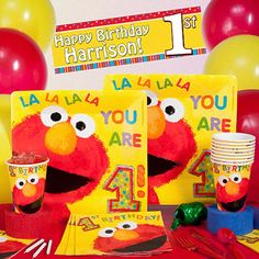 Elmo 1st Birthday - Deluxe Party Pack - Personalized - Unisex First Birthday Party Supplies