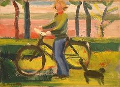 LOUISA MATTHIASDOTTIR    Girl on Bicycle and Cat, Maine  c.1976  oil on canvas  7 1/4 x 10 inches
