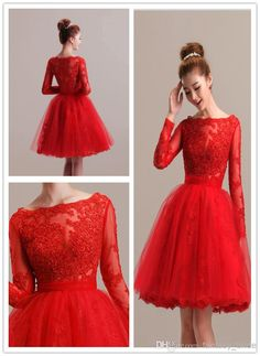 Red Tulle Party Dresses With Long Sleeve Bateau Back Zipper A Line Knee Length 2015 Formal Christams Homecoming Dress Direct Manufacturer, $96.42 | DHgate.com