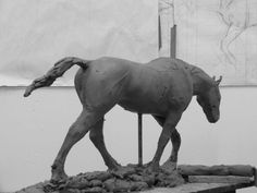 Clay for bronze Horse Sculpture / Equines Race Horses Pack HorseCart Horses Plough Horsess sculpture by artist Ellen Christiansen titled: 'stone of Folca II (Small bronze Horse after Rembrandt Bugatti statue)'