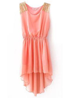 Pink Plain Sequin Irregular Sleeveless Chiffon Dress