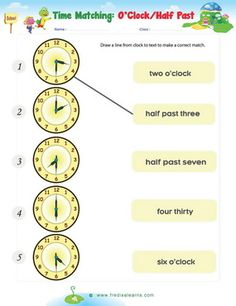 Time Worksheets - O\'clock, Half and Quarter Past & To Sheet 1A ...