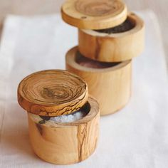Salt and Pepper Keepers // Manufacturer: VivaTerra // Price: $59.00-$89.00 // The olive wood used in these tabletop keepers is grown in a sustainably managed forest in France. We love the swiveling magnetic lid and the two-chambered design of the double-size version.