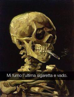 Teschio di uno scheletro con sigaretta accesa - Vincent van Gogh
