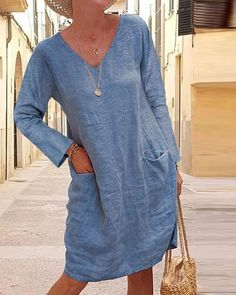Casual Solid Tunic V-neckline Shift Dress Beige Maxi Dresses, Linen Dresses, Shift Dresses, Pleated Shirt, Tunic Pattern, Shift Dress Pattern, Casual Suit, Couture, Dress Brands