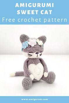 Gato Crochet, Crochet Cat Toys, Crochet Cat Pattern, Crochet Amigurumi Free Patterns, Crochet Animal Patterns, Stuffed Animal Patterns, Knit Or Crochet, Crochet Dolls, Crochet Stitches