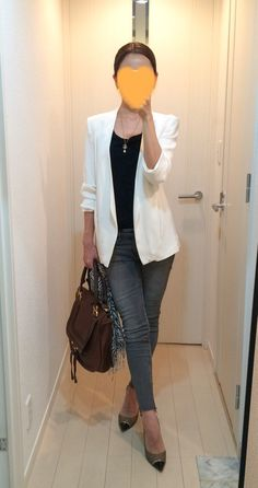Business meeting w/ white jacket and distressed jeans.
