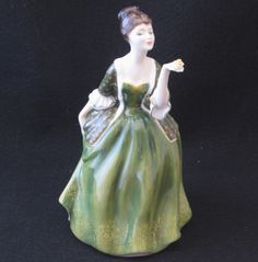 ROYAL DOULTON FIGURINE FLEUR | WOMAN IN GREEN GOWN | MADE IN ENGLAND