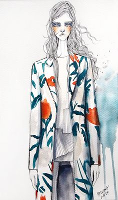 Fashion illustration by Meow : Thakoon Resort 2015 : www.meowillustration.com