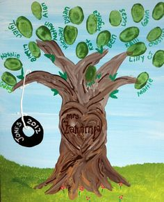 Teacher Appreciation Fingerprints for Teacher: DIY Personalized Hand Painted Tree 8x10 Canvas