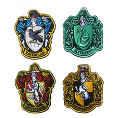 Harry Potter House of Gryffindor, Ravenclaw, Hufflepuff, Slytherin House Hogwarts Crest Patch Hook and Loop Backing Full Color Patches Crest Set for Coat Jacket Gear Cap Hat Backpack Casas Do Harry Potter, Casas Estilo Harry Potter, Harry Potter Patch, Harry Potter Badges, Cumpleaños Harry Potter, Harry Potter Birthday, Harry Potter Characters, Harry Harry, Harry Potter Navidad