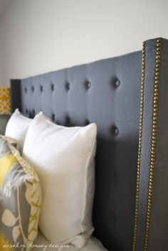 DIY Headboard - changes I would make:  leave off the wings and tufting, put nailhead accent around edge of main board...and maybe use a thicker foam for more cushion so it would be soft to lean against while watching tv or reading.