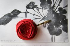 Perfect Red Rosette Bobby Pin Cotton Fabric Flower 1 by Brydferth, $10.00