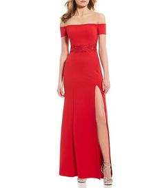 879feb75c0b5 Sequin Hearts Off-The-Shoulder Applique Waist Long Dress Off The Shoulder