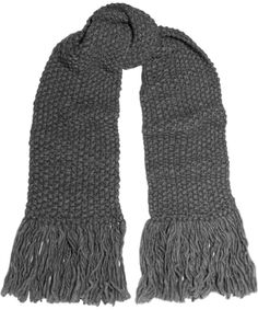 Écharpe en laine grise à franges, soldes Michael Kors Collection