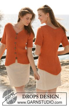 """DROPS jacket in rib with short sleeves in """"Alpaca"""". Size S-XXXL. ~ DROPS Design"""