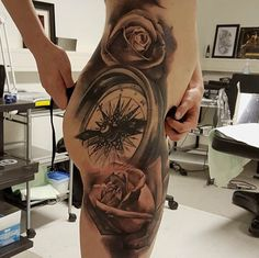 JP Wikman is the artist behind this black-and-grey compass with perfect placement #InkedMagazine #compass #rose #tattoo #tattoos #Inked #ink